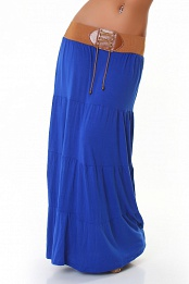 Blue Belted Long Skirt