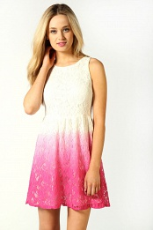 Louise Dip Dye Lace Skater Dress