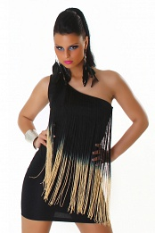 Black Two-Color One-Shoulder Fringed Club Dress
