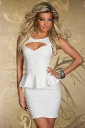 White Breast Cut-Out Bodycon Peplum Dress
