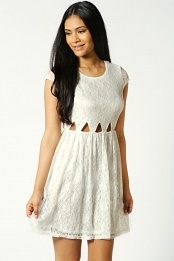 Ivory Faye Cut Out Waist Lace Skater Dress