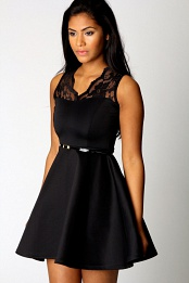 Black Nadine Scallop Lace Belted Skater Dress