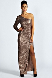 Boutique Amy Sequin Shoulder Maxi Dress