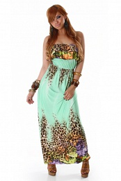 Green Leopard Print Strapless Long Dress With Flounces