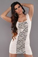 Creme Square Neck Dress With Lace Insert