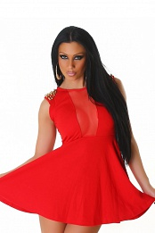 Red Studded Epaulets Short Dress With Semi-Sheer Insets