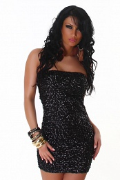 Black Sequined Strapless Club Dress