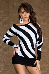 Black-White Striped Knitted Sweater Dress