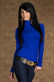 Blue Long Sleeves Turtleneck Sweater