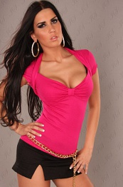 Fuchsia Sexy Bolero Top Short Arms