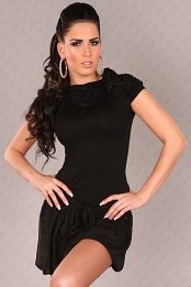 Black Short Sleeves Bubble Skirt Belted Dress