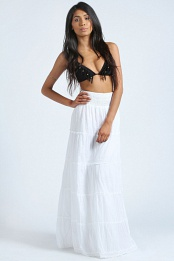 White Aleah Crochet Trim Ruched Side Maxi Skirt