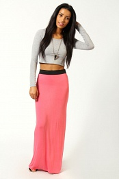 Coral Helena Contrast Waistband Jersey Maxi Skirt