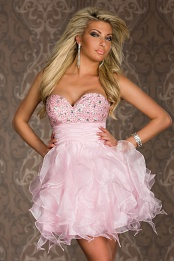 Pink Puffy Ruffled Strapless Rhinestones Prom Dress
