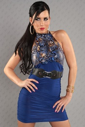 Blue Leopard Top Ruched Belted Dress