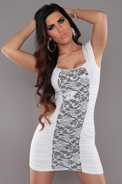 White Square Neck Dress With Lace Insert