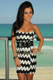 Black White Lace Belted Strapless Padded Dress