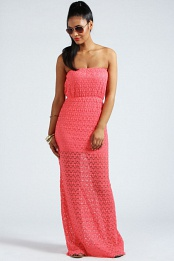 Coral Ruth Crochet Bandeau Elasticated Waist Maxi Dress