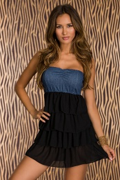 Denim Top Black Ruffle Bottom Strapless Dress