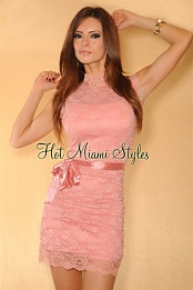 Pink Lace Ruched High-Neck Belted Dress