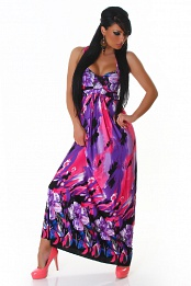 Bright Purple-Pink Flower Long Summer Dress