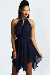 Navy Emily Embellished High Neck Chiffon Dress