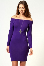 Purple Alice Off The Shoulder Long Sleeve Bodycon Dress