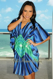Ocean Blue Green Print Tunic
