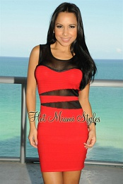 Red Black Mesh Bandage Dress