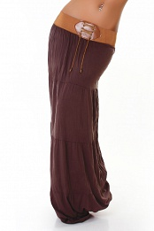 Brown Belted Long Skirt