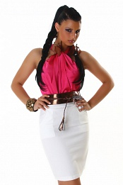 Fuchsia-White Two-Color Sleeveless Dress With Bronze Belt