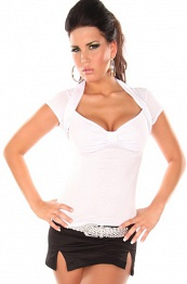 White Sexy Bolero Top Short Arms