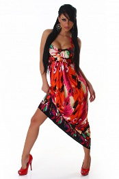 Bright Orange-Red Flower Long Summer Dress