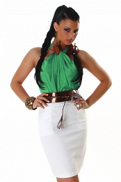Green-White Two-Color Sleeveless Dress With Bronze Belt