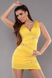 Yellow V-Neck Pleated Rhinestone Insets Dress