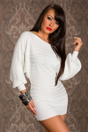 White Short Sweater Dress With Wide Sleeves