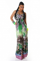 Green Ornament Halter Long Summer Dress