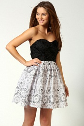 Faye Textured Bandeau Lace Print Skirt Prom Dress
