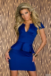 Blue Cut Low-Necked Peplum Dress With Short Sleeves