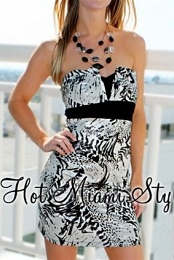 Black Silver Animal Strapless Dress