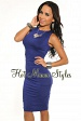 Blue Key-Hole Ruched Knee Length Dress