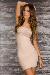 Cream Strapless Studded Short Knitted Dress