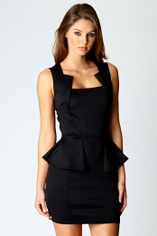 Black Olivia Square Neck Peplum Bodycon Dress