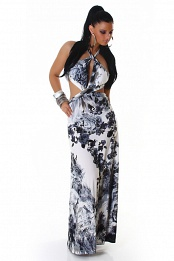 Black Flower Print Criss-Cross Straps Long Summer Dress