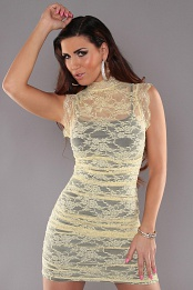Yellow Black Sexy Minidress 2in1 With Banded Collar