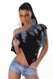 Black Off-Shoulder Top With Feather Print