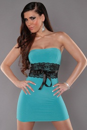 Mint Sexy Strapless Dress With Lace Waistband