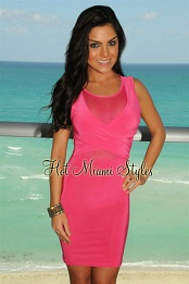 Fuchsia Faux Wrap Mesh Dress