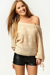 Beige Daisy Lace Up Shoulder Oversized Jumper