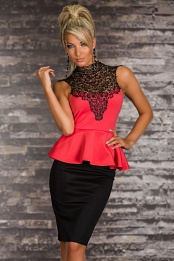 Black-Coral Peplum Dress With Lace Top